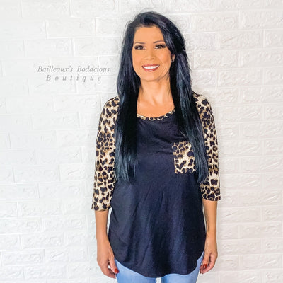 Black top with leopard contrast - Bailleaux's Bodacious Boutique