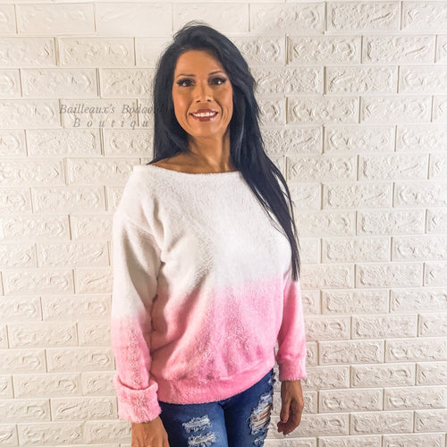 Tie dye ombre pink sweater - Bailleaux's Bodacious Boutique