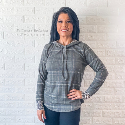 Plaid hoodie top with leopard contrast - Bailleaux's Bodacious Boutique