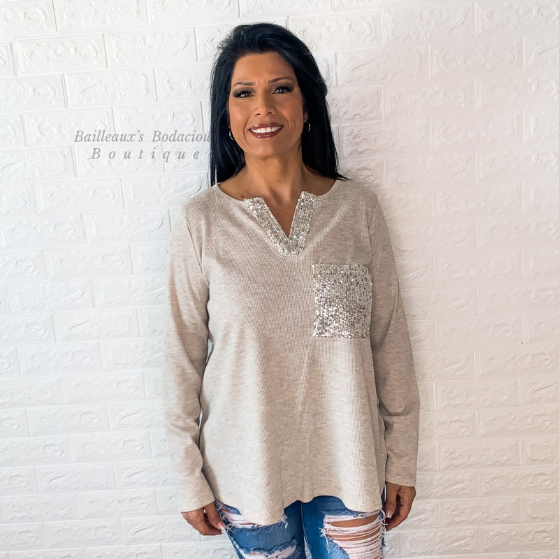 Thermal knit top with sequin pocket - Bailleaux's Bodacious Boutique