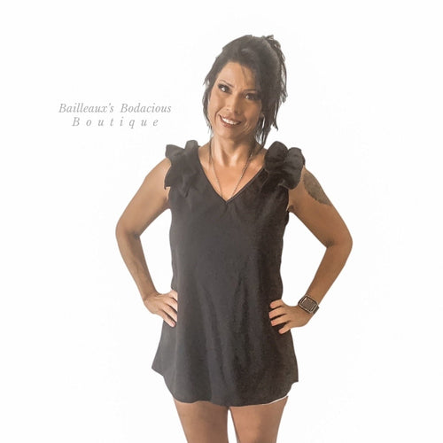 Black v neck top with ruffle applique at shoulder - Bailleaux's Bodacious Boutique