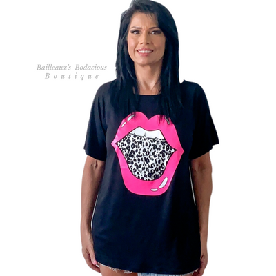 Wild hot pink lips raglan top - Bailleaux's Bodacious Boutique