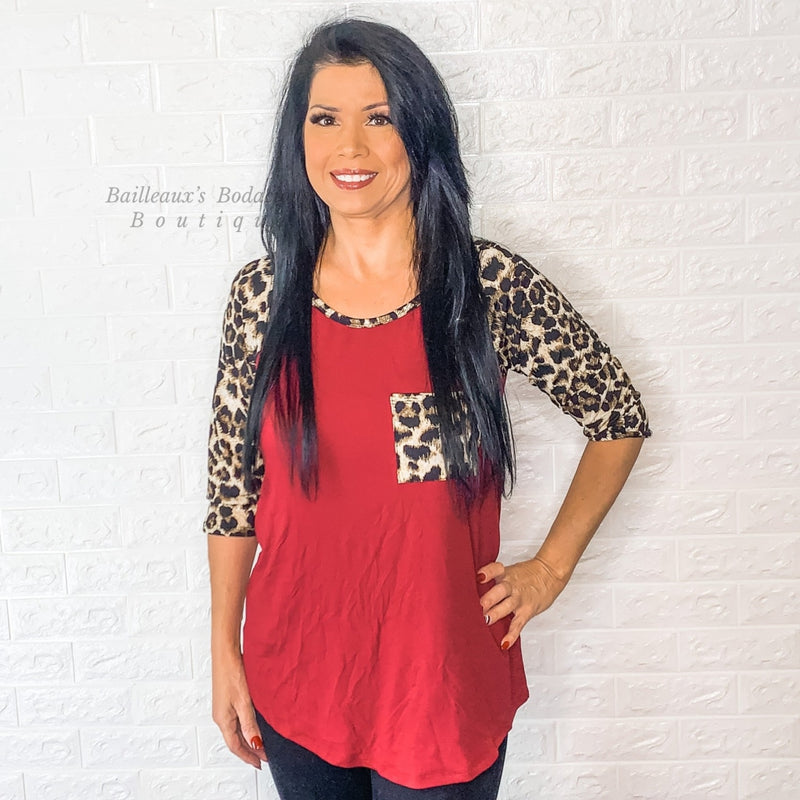 Burgundy top with leopard contrast - Bailleaux's Bodacious Boutique