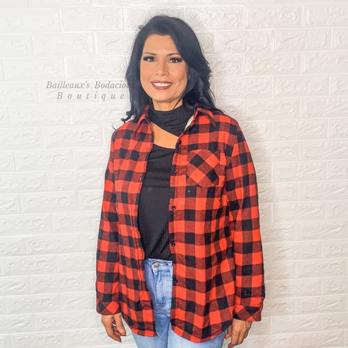 buffalo plaid top with sherpa lining - Bailleaux's Bodacious Boutique