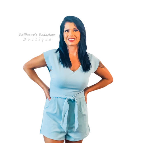Seafoam romper with pockets - Bailleaux's Bodacious Boutique