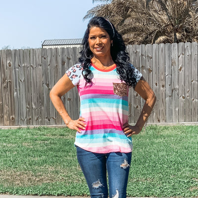Rainbow top with sequin pocket - Bailleaux's Bodacious Boutique
