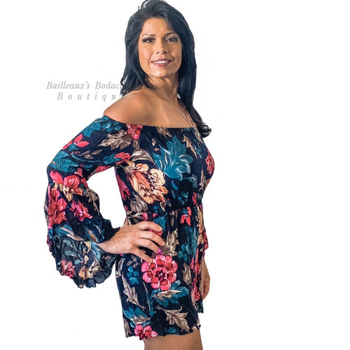 Floral off shoulder romper - Bailleaux's Bodacious Boutique