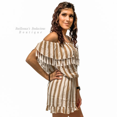 Mocha Striped off shoulder romper with tassel detail - Bailleaux's Bodacious Boutique