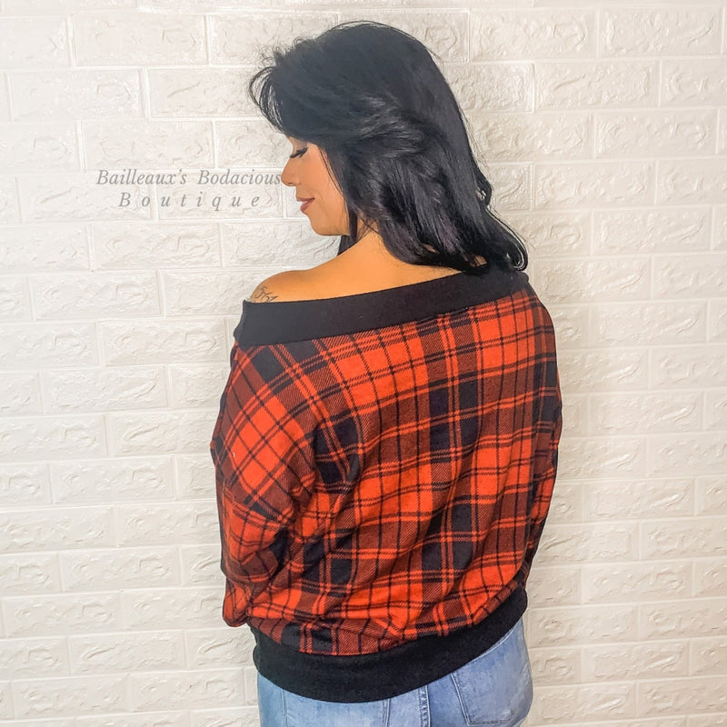 buffalo plaid off shoulder top - Bailleaux's Bodacious Boutique