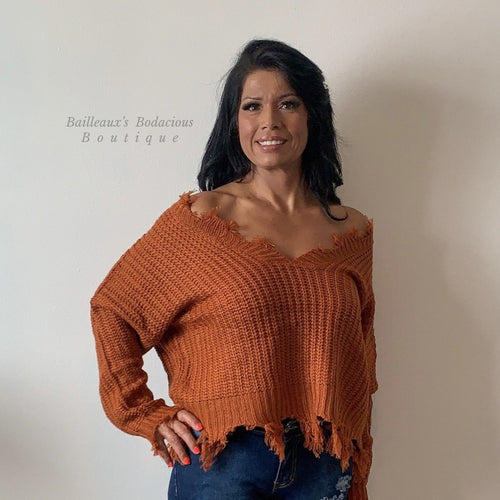 sweater-rust distressed - Bailleaux's Bodacious Boutique