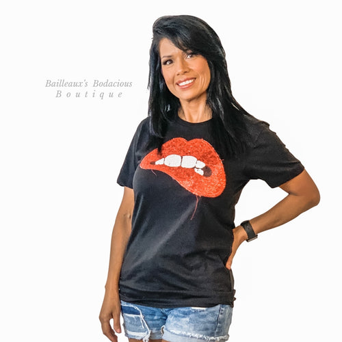 Black glitter lips shirt - Bailleaux's Bodacious Boutique