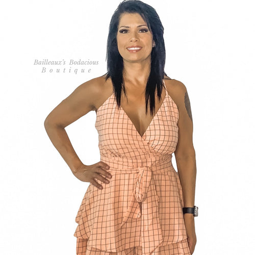 Blush checkered Romper - Bailleaux's Bodacious Boutique
