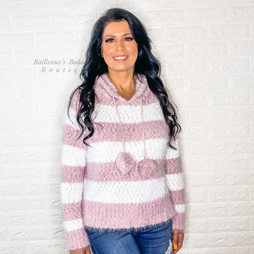 Mauve Striped hooded sweater with pom poms - Bailleaux's Bodacious Boutique