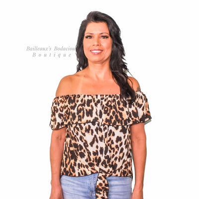 Leopard Off shoulder front tie top - Bailleaux's Bodacious Boutique