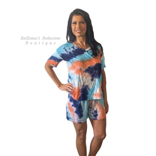 Blue, coral, navy lounge set - Bailleaux's Bodacious Boutique