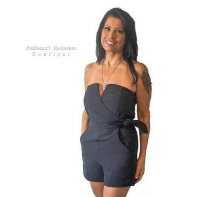Black Tube top romper - Bailleaux's Bodacious Boutique