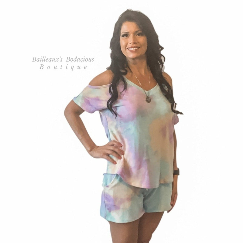Tie dye cold shoulder mint and purple shorts set - Bailleaux's Bodacious Boutique