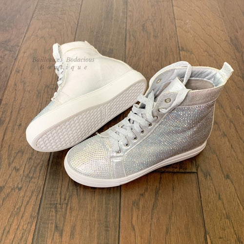 Adele Rhinestone Hidden wedge sneakers - Bailleaux's Bodacious Boutique