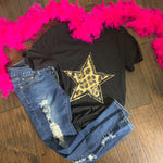 Distressed leopard glitter star - Bailleaux's Bodacious Boutique