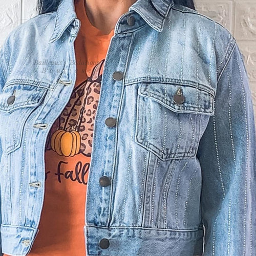 Denim jacket with rhinestones - Bailleaux's Bodacious Boutique