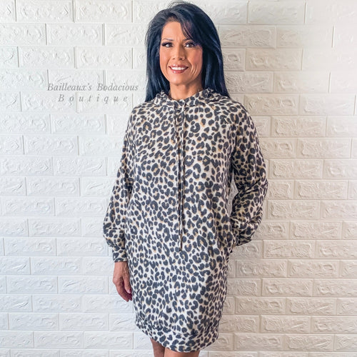 Leopard sweatshirt dress hoodie with pockets - Bailleaux's Bodacious Boutique
