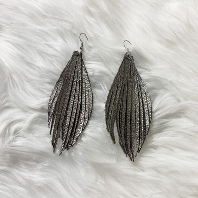 Leather Fringe earrings - Bailleaux's Bodacious Boutique