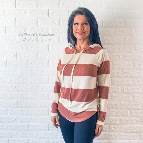 Rust striped hoodie with leopard contrast - Bailleaux's Bodacious Boutique