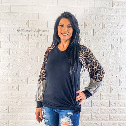 Leopard long sleeve tunic - Bailleaux's Bodacious Boutique