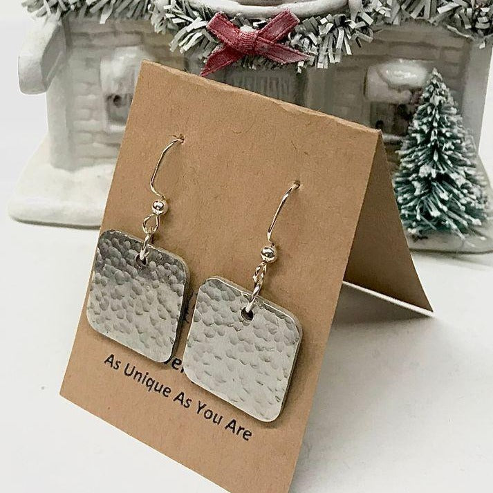 Hammered Square Earrings - Bailleaux's Bodacious Boutique