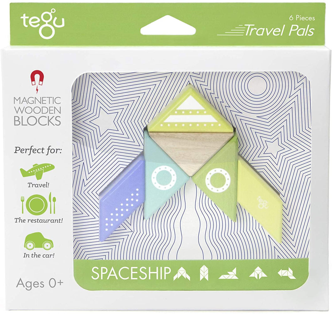Spaceship Travel Pal Magnetic Wooden 6 Piece Block Set