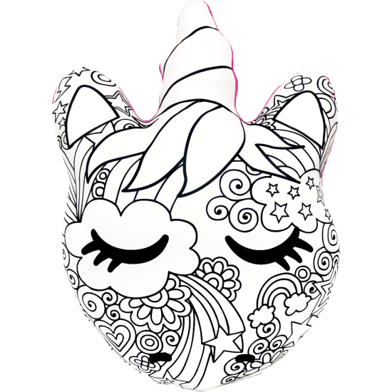 Unicorn and Stars Color-Me Pillow