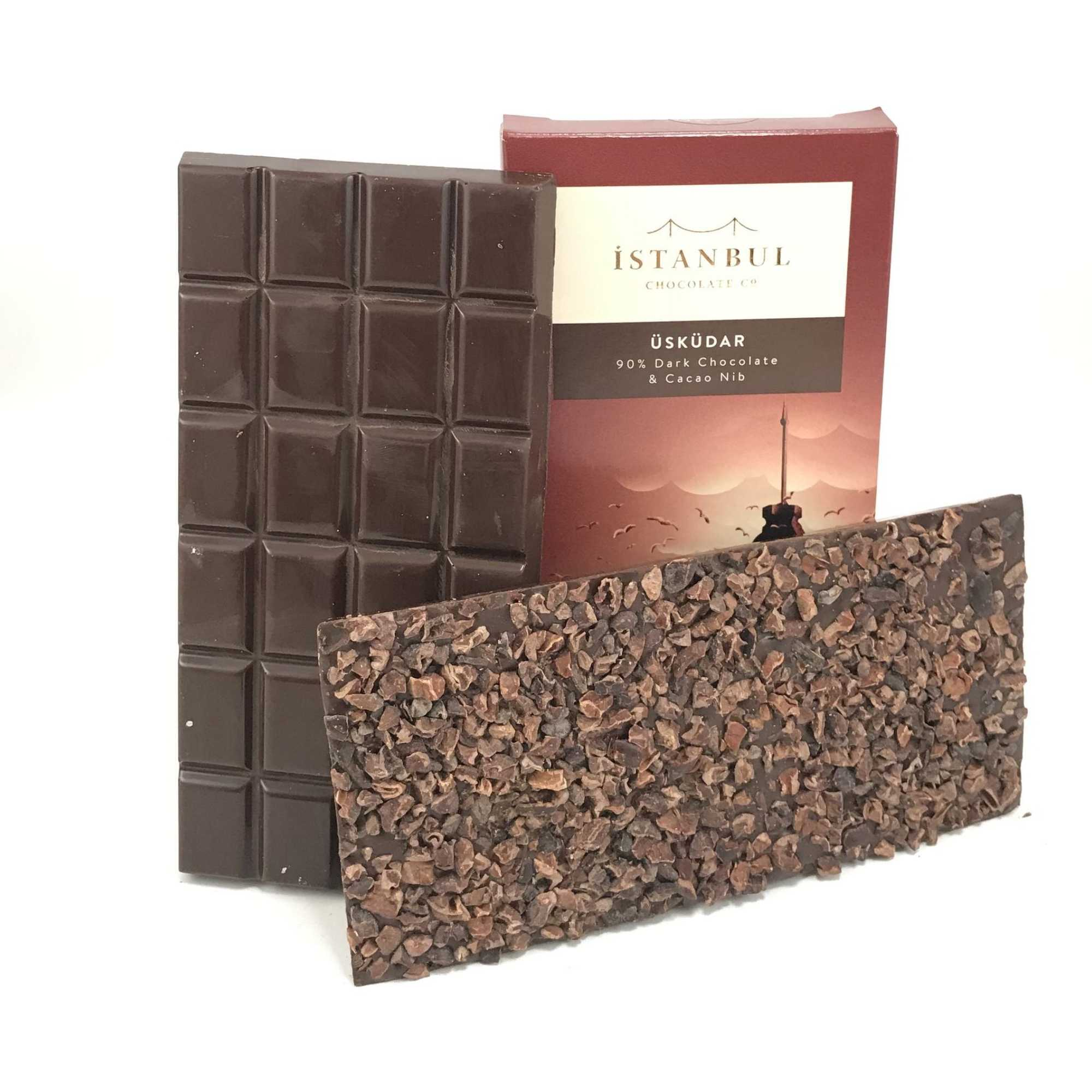 Istanbul Chocolate Uskudar 90% Dark Chocolate & Cacao Nib 100 Gr