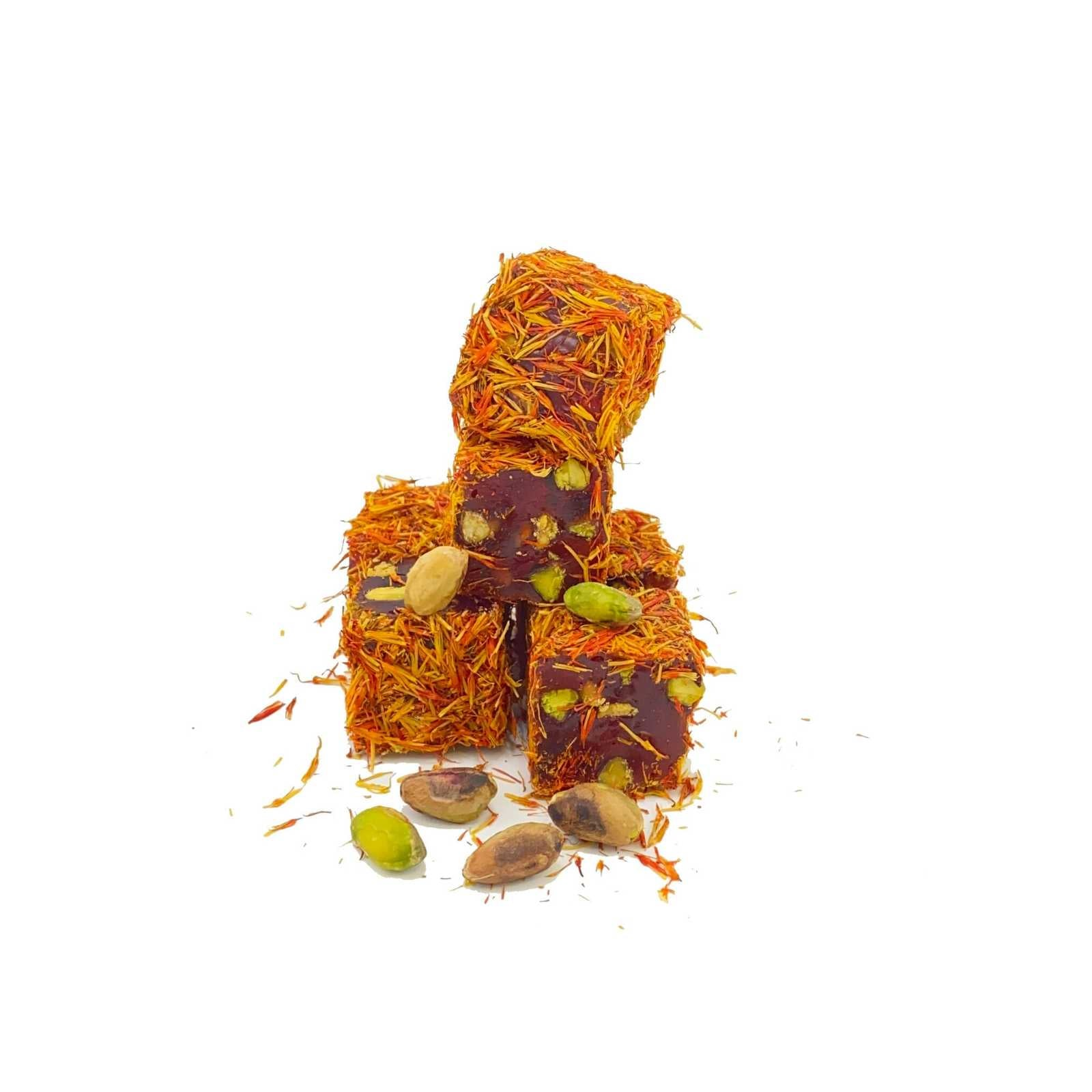 Saffron Coated Pomegranate Flavoured Rolled Lokum With Pistachio 100 Gr