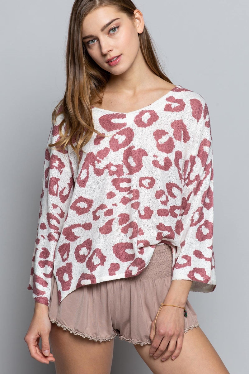 Raspberry Leopard Top