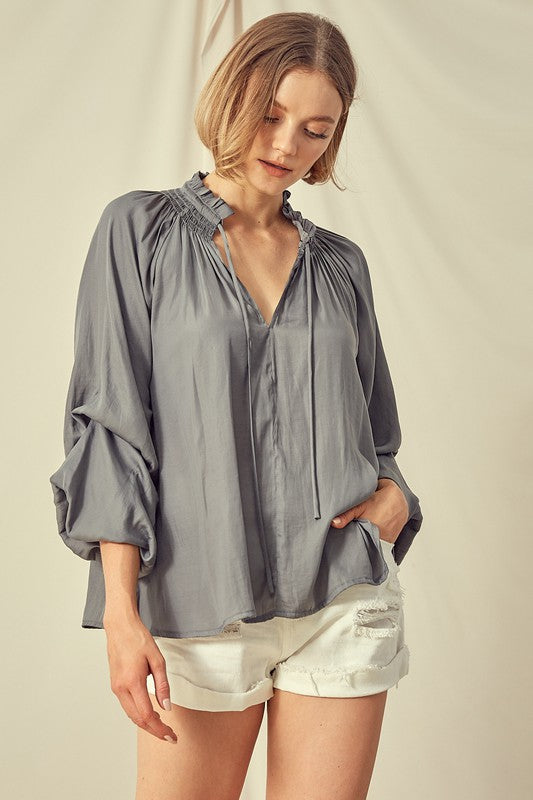 Isabelle Balloon Sleeve Top with Tie