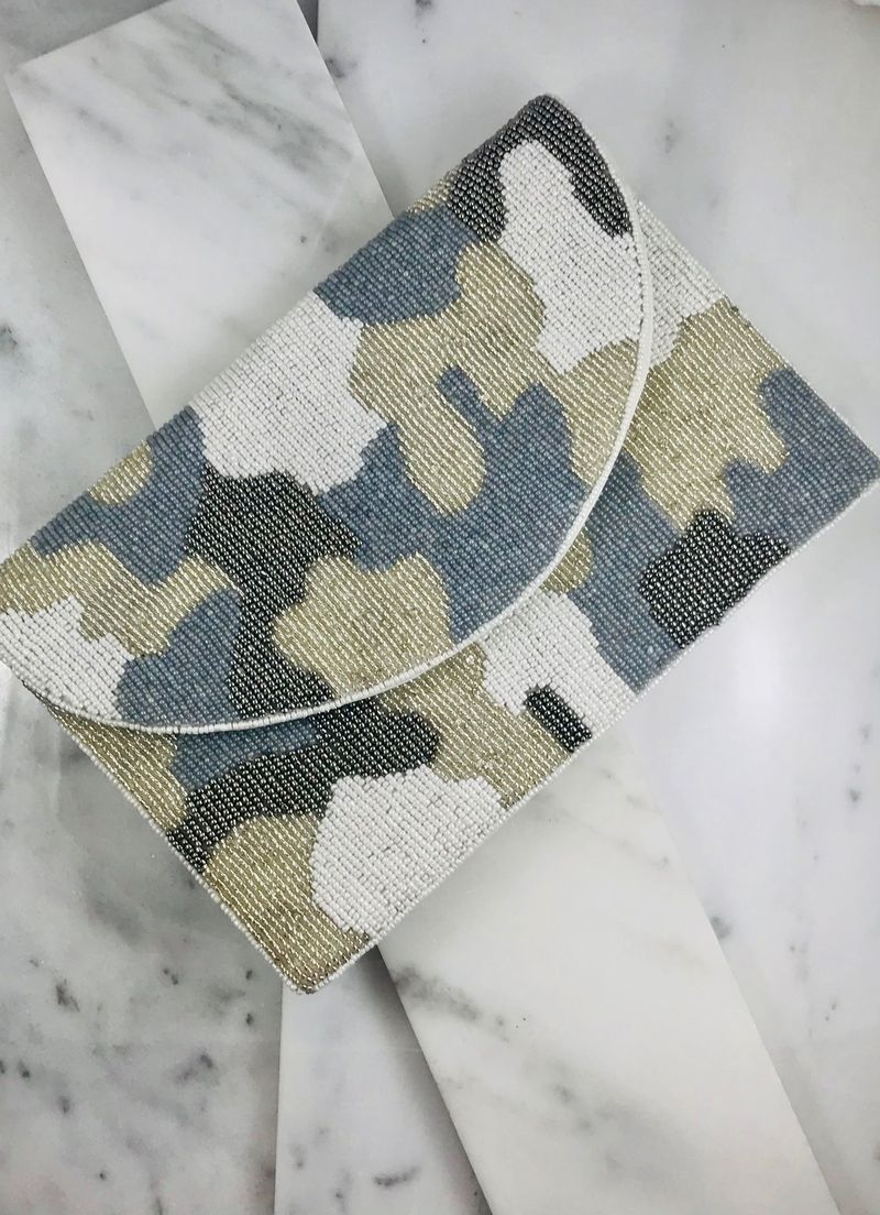 Gray Beaded Camo Crossbody