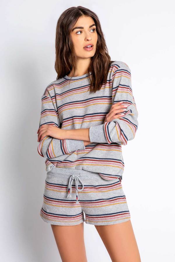 Grey Stripe Retro Revival Short