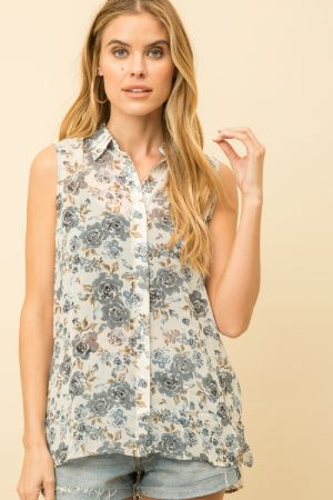 Alexa Mixed Sleeveless Top