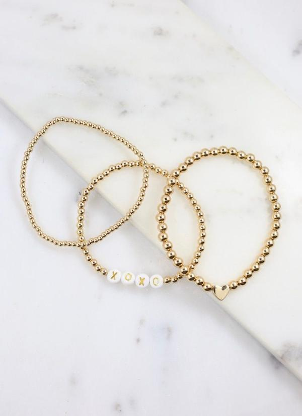 XOXO Beaded Bracelet Set