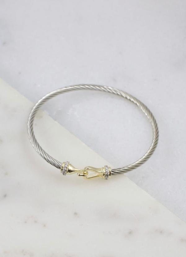 Hinge Cuff Bracelet with CZ Accents