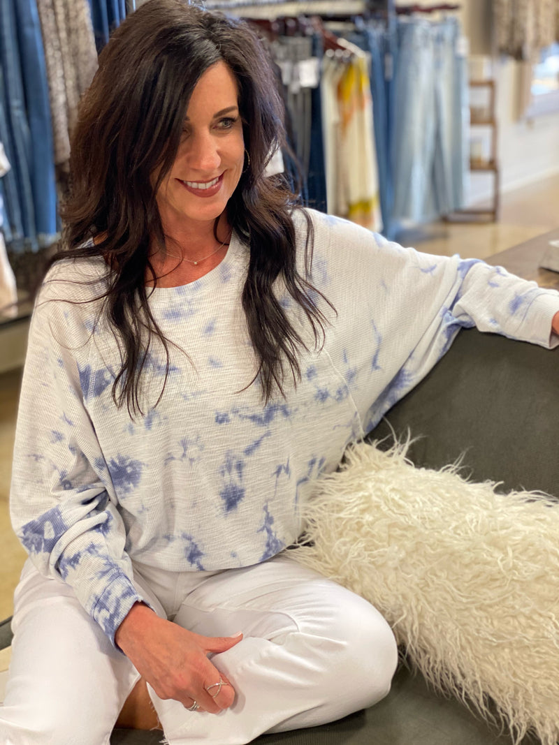 Claire Cloud Tie Dye Top Blue