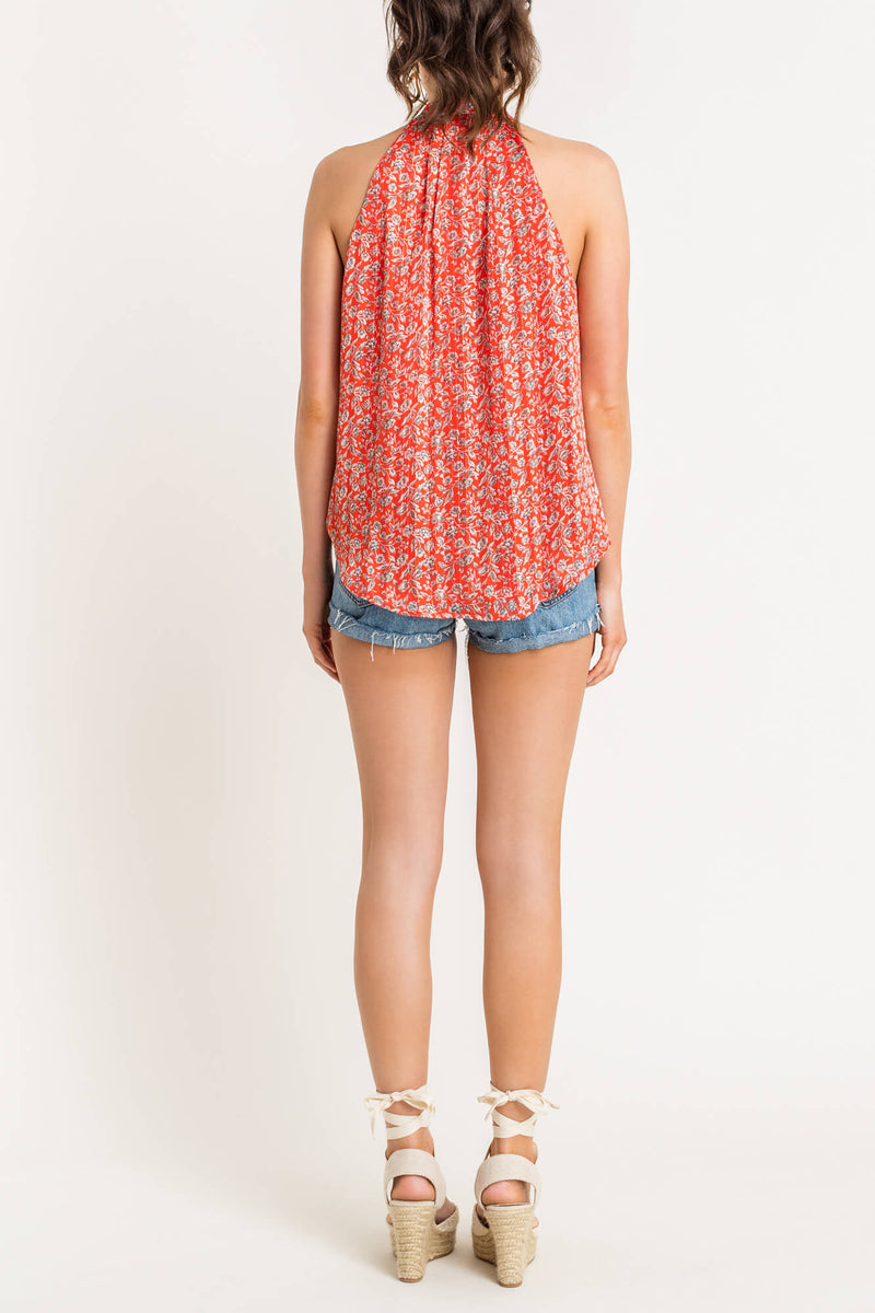 Orange Floral Sleeveless Top