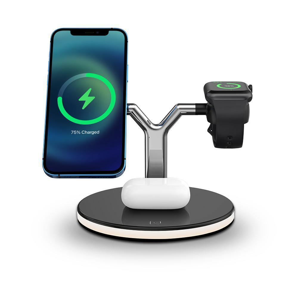 MagFit 3 in 1 Magnetic Wireless Charging Aluminum Nightstand 15W Fast Charging Station