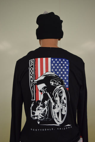Spooky Fast Big Wheel Bagger Long Sleeve T-Shirt - Black