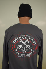 Spooky Fast Iron Fists Long Sleeve T-Shirt - Gray