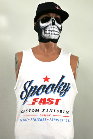 Spooky Fast Corporate Logo Tank Top - White
