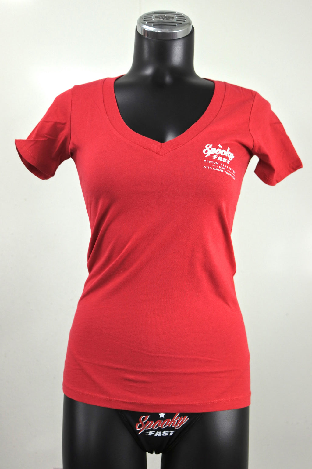 Spooky Fast Women's Corporate Logo Deep-V Neck Shirt - Red