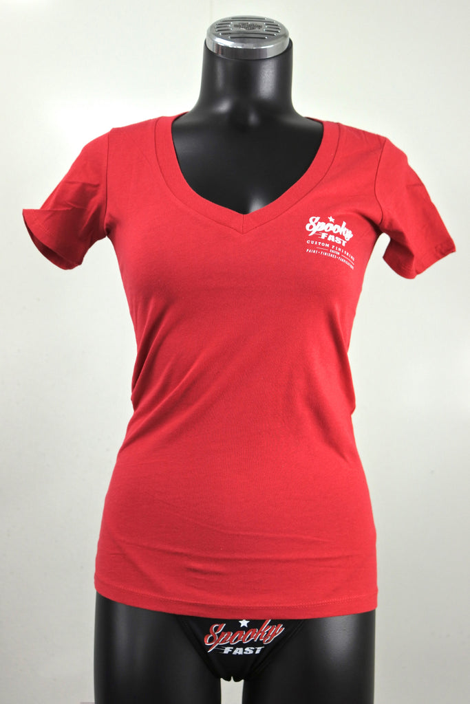Spooky fast women 39 s corporate logo deep v neck shirt red for Women s company logo shirts