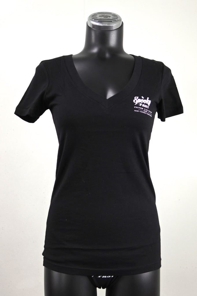 Spooky Fast Women's Corporate Logo Deep-V Neck Shirt - Black