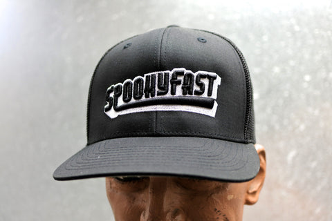Spooky Fast Ghost Embroidered Baseball Logo Flexfit Hat - Black